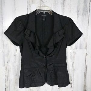 🌿 WHBM Black Short Sleeve Top w Ruffles